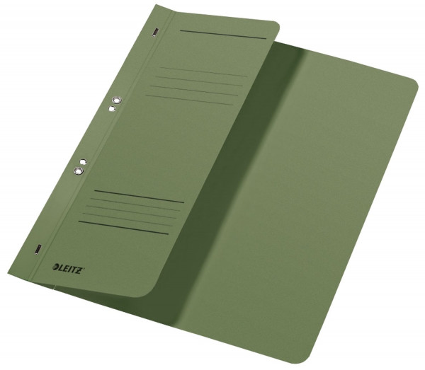 Leitz 3740 Ösenhefter, grün, halber Vorderdeckel, A4, kfm. Heftung, Manilakarton, Halbhefter