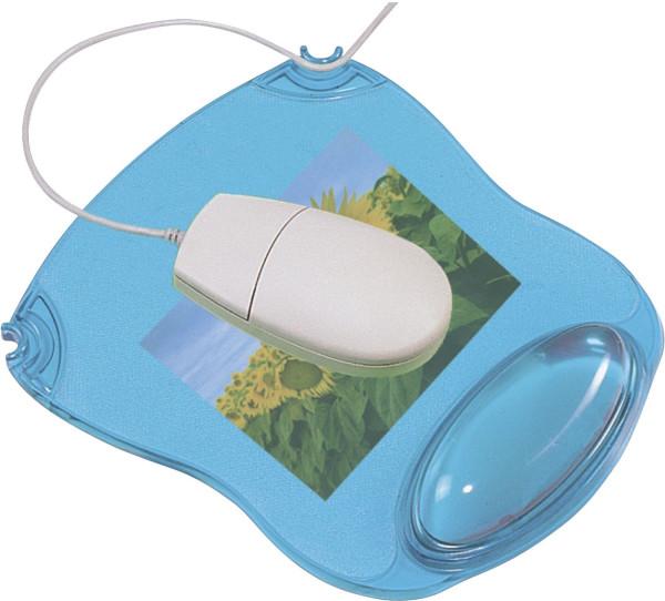 Mousepad mit Gelauflage - blau-transparent
