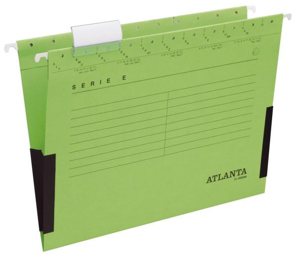 Atlanta Hängetasche grün Serie E Leinenfrösche, inkl. Vollsichtreiter und Blankoschildchen