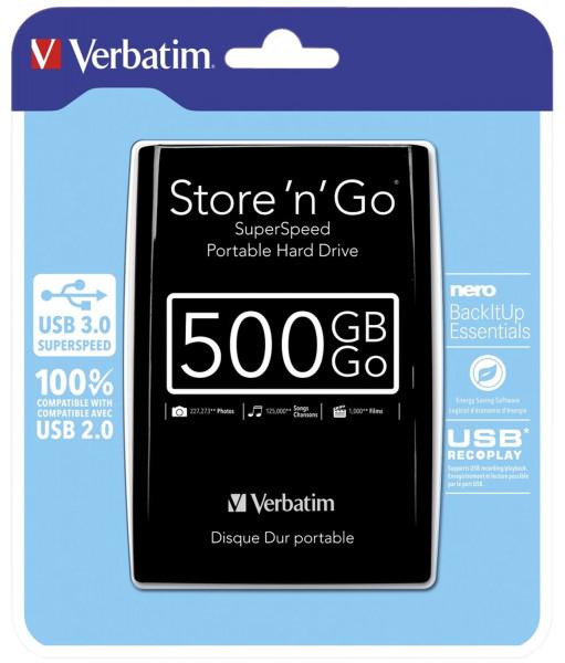 Externe 6,35 cm Festplatte - USB-3.0-Laufwerk, 500 GB