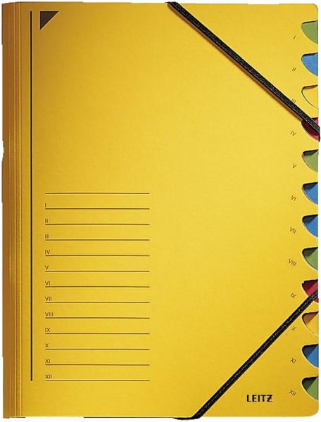 Leitz 3912 Ordnungsmappe, 12 Fächer, gelb Colorspankarton
