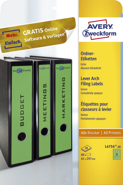 Zweckform® L4754-20 grün Rückenschilder breit lang, A4, 20 Blatt 60 Stück,