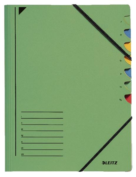 Leitz 3907 Ordnungsmappe, 7 Fächer, grün Colorspankarton