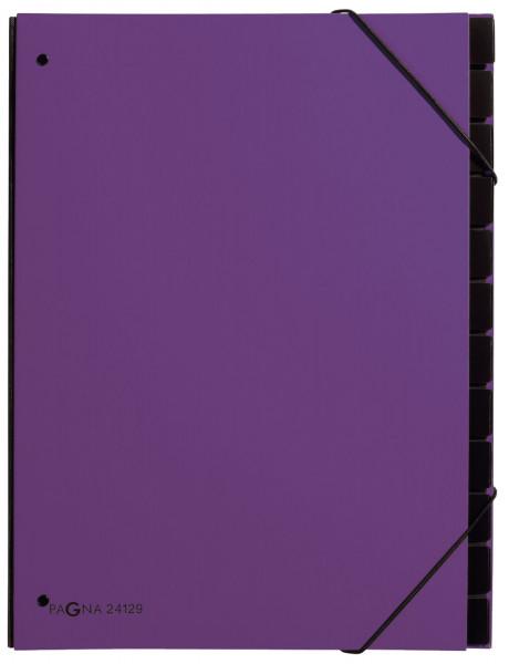 Pultordner Trend - 12 Fächer, Eckspanngummi, lila