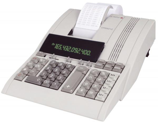 Olympia Tischrechner CPD 5212, mechanisches Druckwerk, 12 Zeichen, 220x90x290mm, lichtgrau