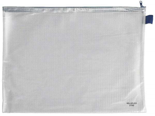 Veloflex® Reißverschlusstasche transparent/blau, A3, 445 x 320 mm