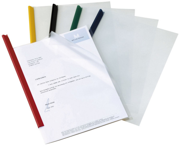 Klemmschienenhülle, 1 - 100 Blatt A4, aus PP, transparent, 10 Stück
