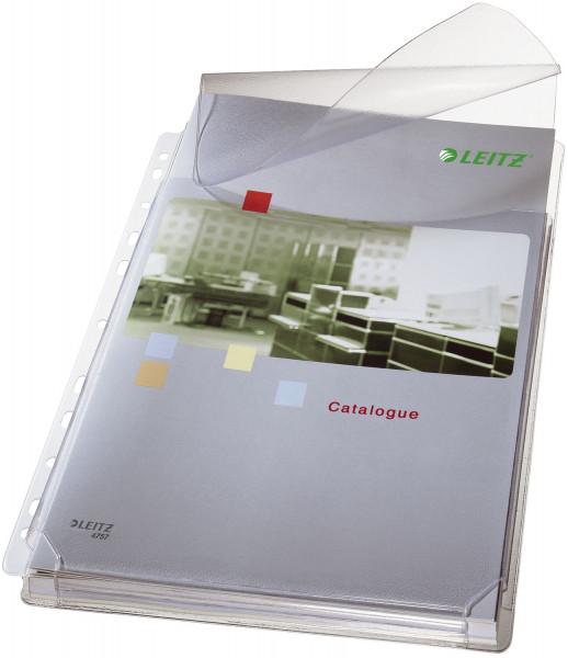 Leitz 4757 Prospekthülle A4 Maxi mit Klappe genarbt, 0,17 mm, 5 Stück