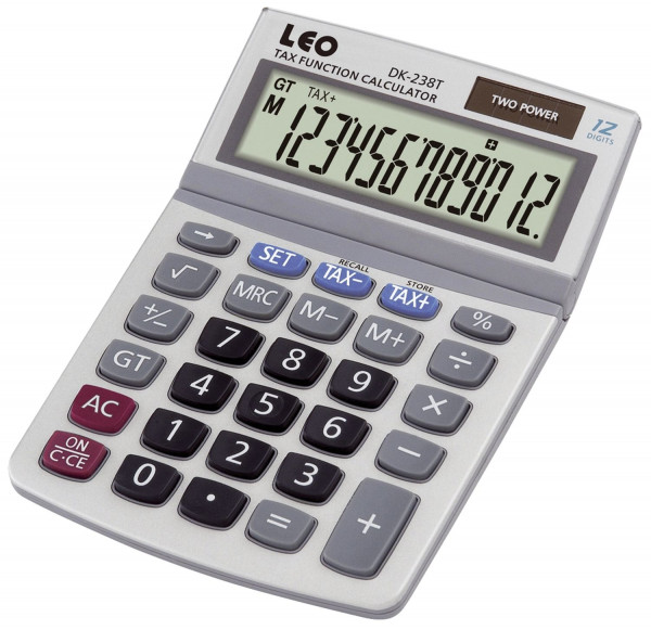 LEO® Solar Tischrechner DK-238T, weiß, 12-stellig