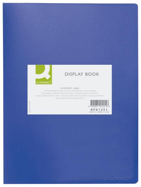 Q-Connect Sichtbuch - blau, 20 Hüllen, Einband PP, 450 mym,