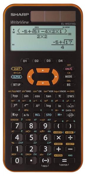 SHARP Schulrechner EL-W531XGYR, 335 Funktionen, Solar+Batterie, schwarz-orange