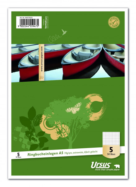 Ursus Basic Ringbucheinlage A5, 50 Blatt 70g/qm 5mm kariert, Lin5