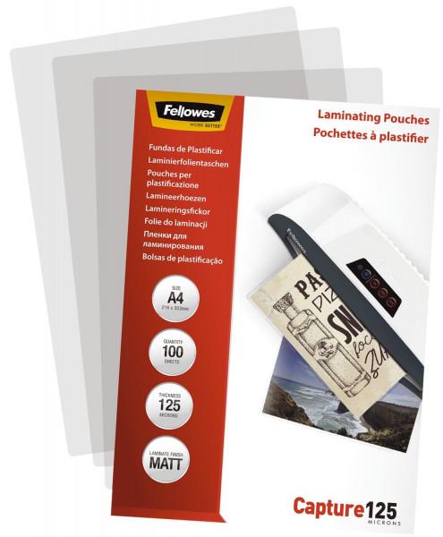 Fellowes® Laminierfolie - A4, matt, 125 Mikron, 100 Stück