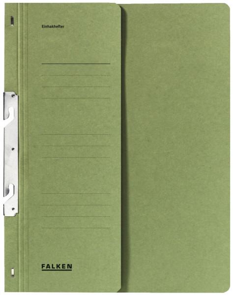 Falken Einhakhefter A4 grün halber Vorderdeckel kfm. Helfung, Manilakarton, 250 g/qm