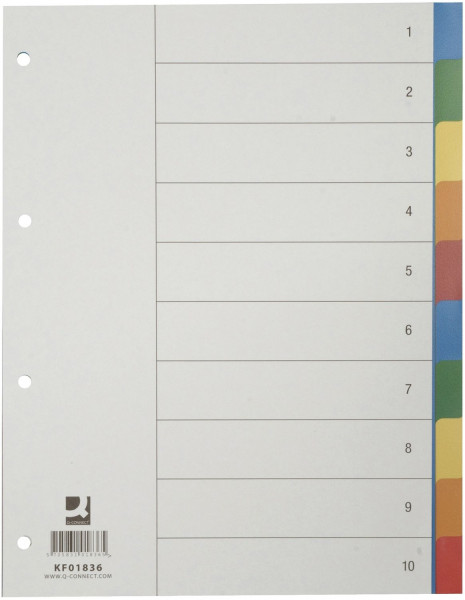 Q-Connect Register blanko, PP, A4, 10 Blatt, Taben 2x 5-farbig