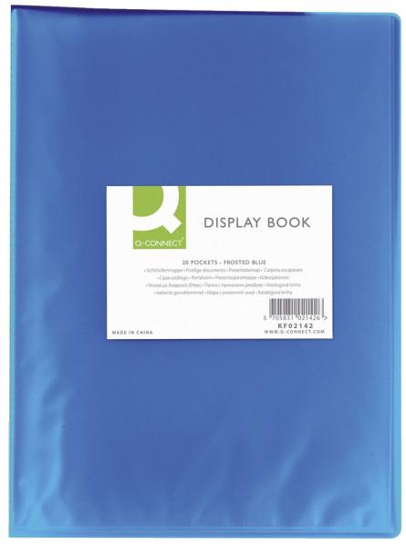 Q-Connect Sichtbuch-transluzent, blau, 20 Hüllen, PP, 250 mym