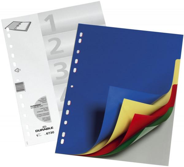 Durable 6730 Register PP, blanko, farbig, A4, 5 Blatt