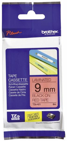 Brother® TZe 421 Schriftbandkassette - laminiert, 9 mm x 8 m, schwarz auf rot