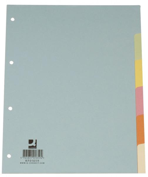 Q-Connect Register blanko, A4, 6 Blatt, Taben 6-farbig