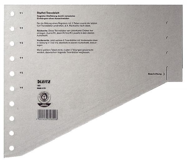Leitz 1651 Staffel Trennblätter - A4 Überbreite, grau, 100 Stück