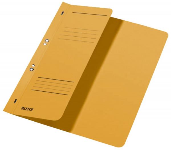 Leitz 3740 Ösenhefter, gelb, halber Vorderdeckel, A4, kfm. Heftung, Manilakarton, Halbhefter
