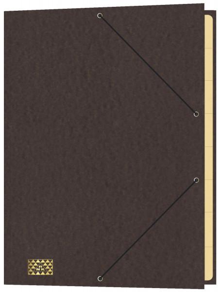 Konferenz- und Ordnungsmappe mit Gummizug, für DIN A4, 9 Fächer, braun