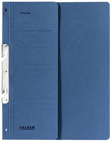 Falken Einhakhefter A4 blau halber Vorderdeckel kfm. Helfung, Manilakarton, 250 g/qm
