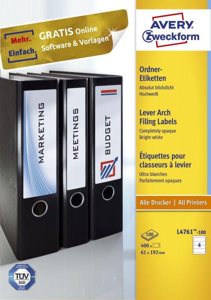 Zweckform® L4761-100 Rückenschild breit kurz A4 weiß 100 Blatt 400 Stück