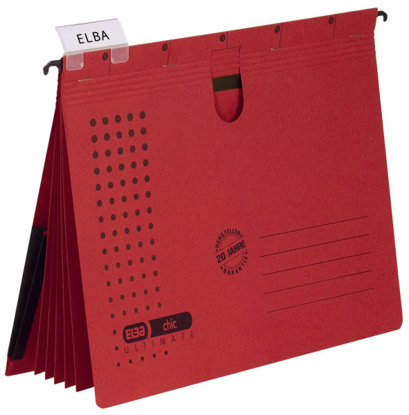 Organisationshefter chic - Karton (RC) 230 g/qm, A4, rot, 5 Stück