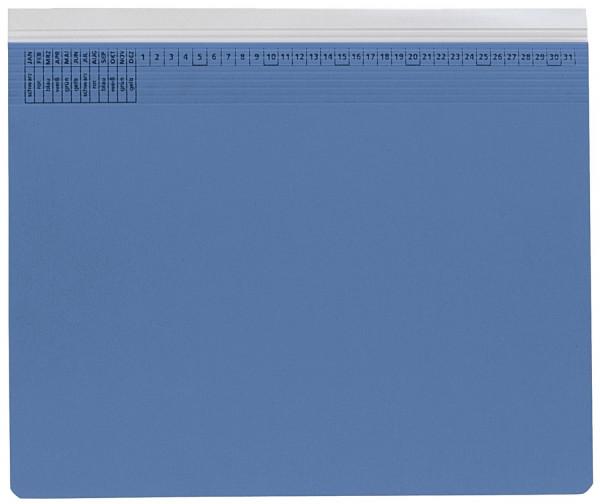 Kanzleihefter A gefalzt blau - Rechtsheftung (kaufmännische Heftung), 1 Tasche, 1 Abheftvorrichtung,