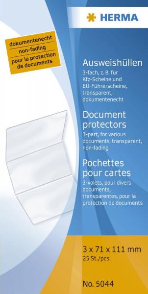 Herma 5044 Ausweishüllen 3x 71x111mm KFZ-Schein/ Führerschein alt