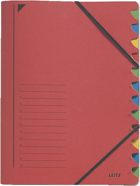 Leitz 3912 Ordnungsmappe, 12 Fächer, rot Colorspankarton