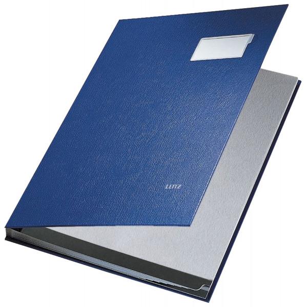Leitz 5701 Unterschriftenmappe, blau, 10 Fächer, Überzug PP,