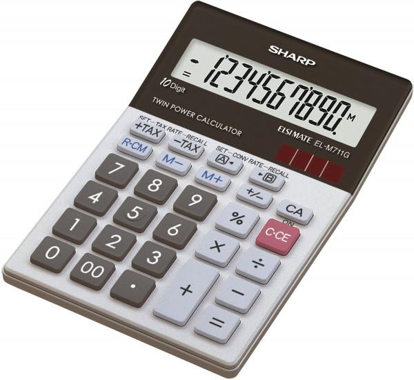SHARP Tischrechner EL-M711G, Batterie/Solar, 100 x 151,5 x 33 mm, schwarz/weiß