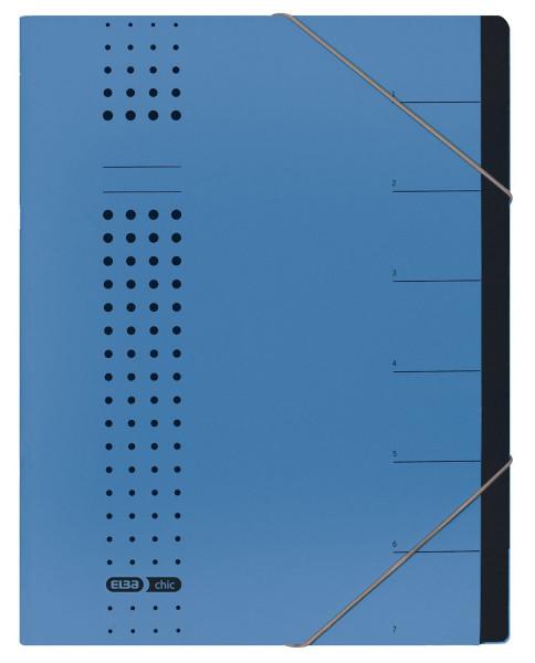 Ordnungsmappe chic, Karton (RC), 450 g/qm, A4, 7 Fächer, blau