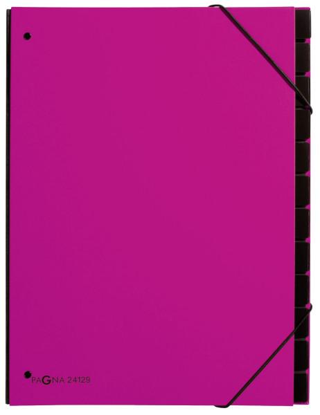 Pultordner Trend - 12 Fächer, Eckspanngummi, dunkelrosa