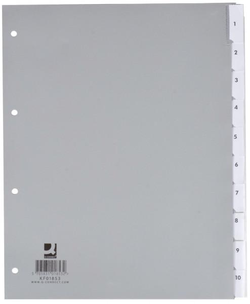 Q-Connect Register blanko, PP, A4 Überbreite, 10 Blatt, grau