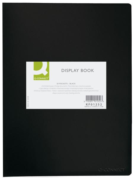 Q-Connect Sichtbuch - schwarz, 20 Hüllen, Einband PP, 450 mym,