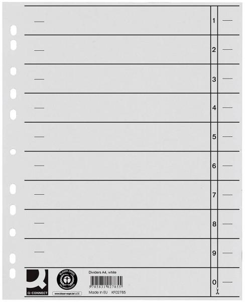 Q-Connect Trennblätter weiß, A4, Überbreite, 100 Stück