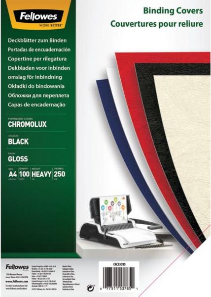 Deckblätter Chromolux - A4 Deckblätter, schwarz, 100 Stück