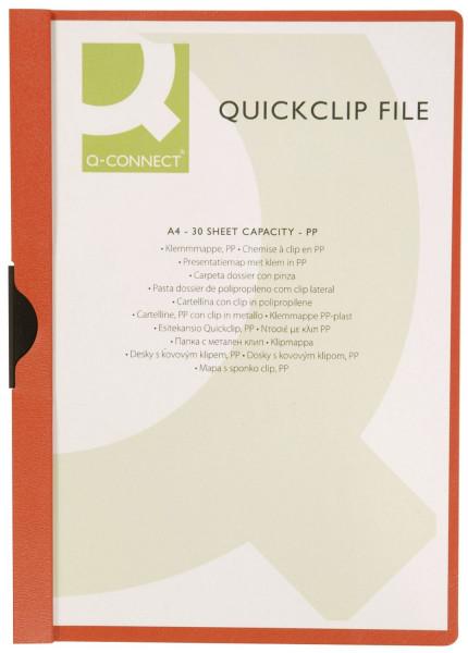 Q-Connect Klemm Mappe rot, Fassungsvermögen bis 30 Blatt