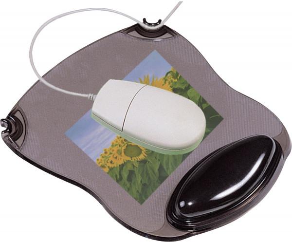 Mousepad mit Gelauflage - grau-transparent