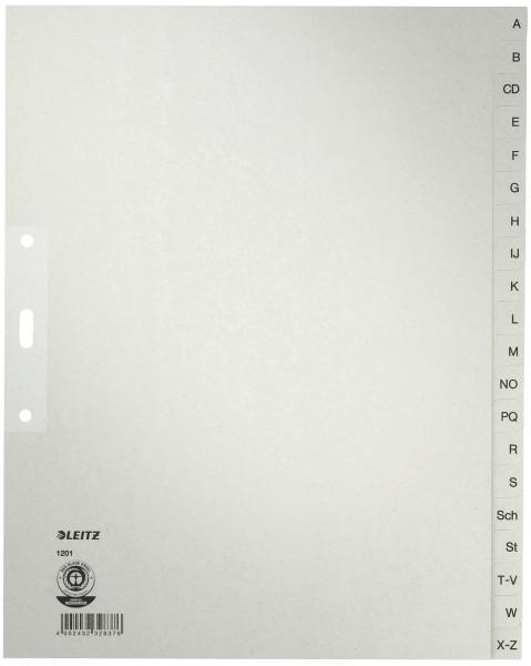 Leitz 1201 Register A - Z, Papier, A4 Überbreite, 20 Blatt, grau