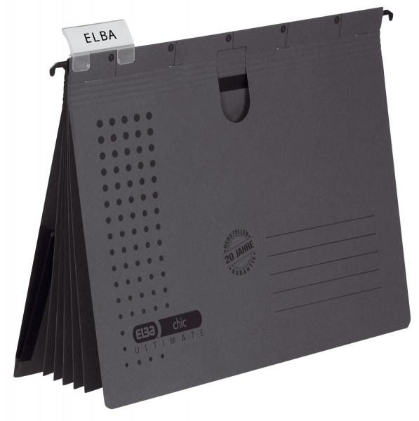 Organisationshefter chic - Karton (RC) 230 g/qm, A4, anthrazit, 5 Stück