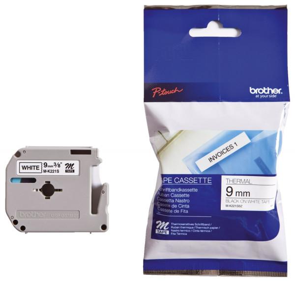 Brother® MK221 BZ Schriftbandkassetten, unlaminiert Größe: 9 mm x 4 m (B x L) schwarz auf weiß