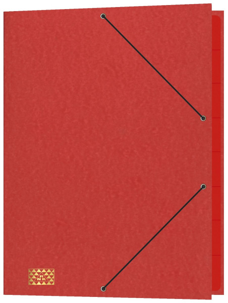 Konferenz- und Ordnungsmappe mit Gummizug, für DIN A4, 9 Fächer, rot