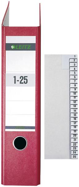 Leitz 1381 Registerserie 1-25, Papier, A4 Überbreite, 25 Blatt, grau