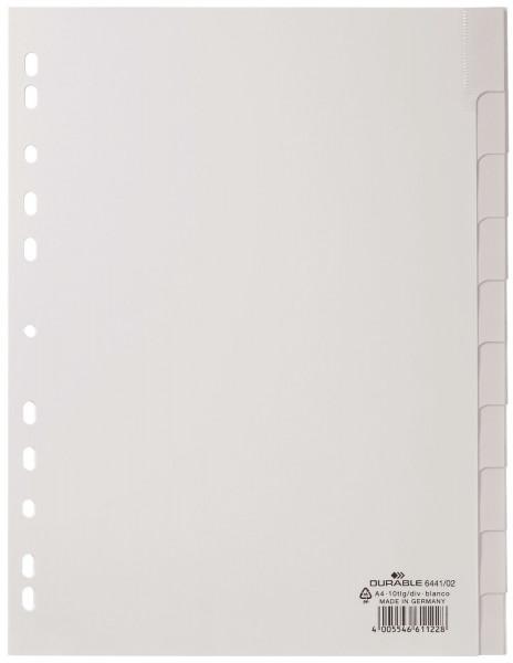 Durable 6441 Register blanko, weiß, PP A4, 10 Blatt