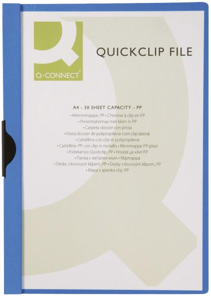 Q-Connect Klemm Mappe blau, Fassungsvermögen bis 30 Blatt