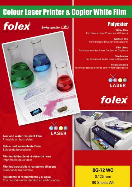 Folex® BG 72 WO Farb Laserfolien A4, 0,125 mm, weiß glänzend, 50 Folien